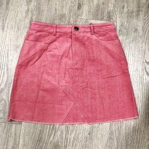 Raw Hem Corduroy Skirt Fuchsia
